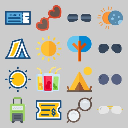 icon set about Beach And Cumping. with eclipse, glasses and tree