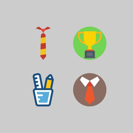 icon set about School And Education. with trophy, pencil case and tie