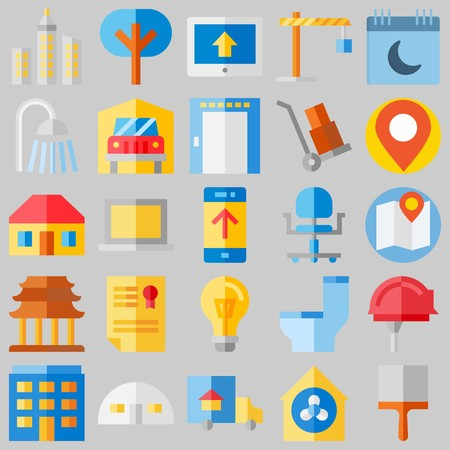 icon set about Real Assets. with placeholder, building and storehouse