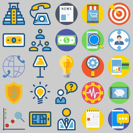 icon set about Marketing. with line chart, pyramid and news Illustration