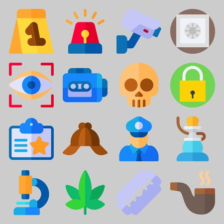 Icon set about Crime Investigation. with marijuana, policeman and shisha Illustration
