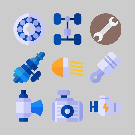icon set about Car Engine. with piston, wheel and distribution Illustration