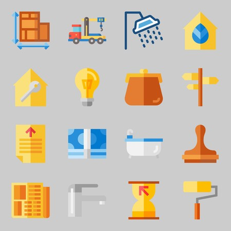 Icons set about Real Assets. with maps and flags, truck and relax