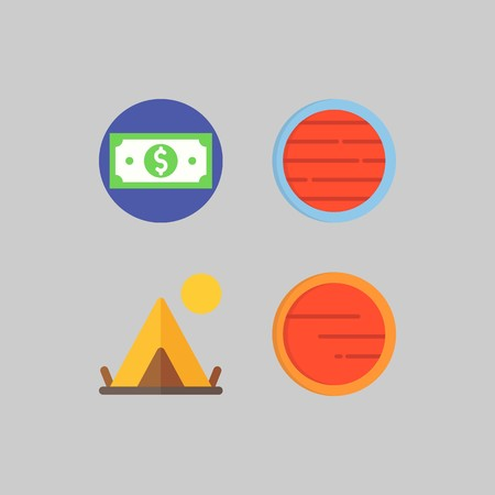 icon set about Travel. with planet, tent and money Illustration