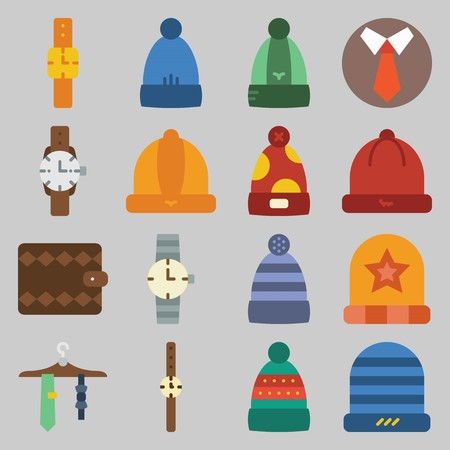 icon set about Man - Clothes. with hat, watch and wallet Illustration