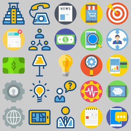 icon set about Marketing. with search, target and settings