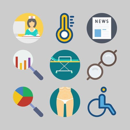 icon set about Medical. with nurse, stretcher and news Illustration