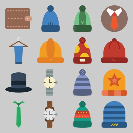 icon set about Man - Clothes. with peg, hat and watch