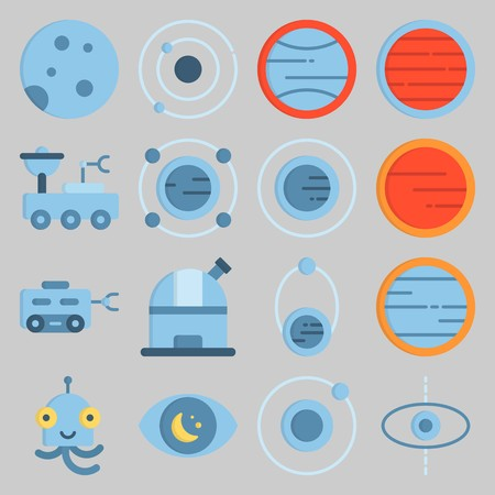 icon set about Univerce. with alien, observatory and moon rover Banque d'images - 102087304