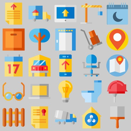 icon set about Real Assets. with calendar, tree and text file Banque d'images - 102087305