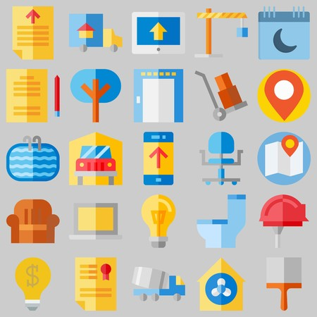 icon set about Real Assets. with map , calendar and certificate Banque d'images - 102087306