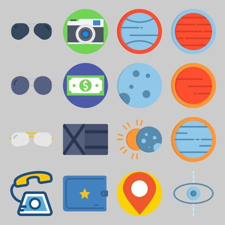 icon set about Travel. with phone call, photo camera and wallet