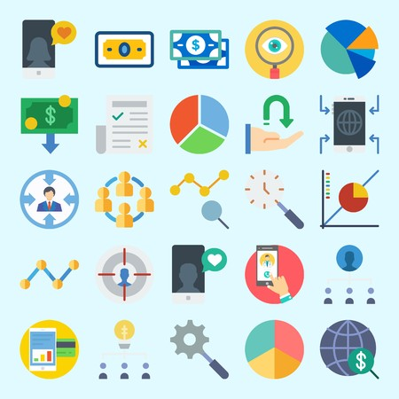 Icons set about Marketing with money, pie chart, newspaper, search, line graph and line chart Ilustrace