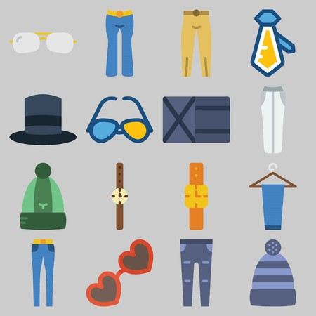 Icon set about Man Accessories with keywords wallet, top hat, trousers, watch, sunglasses and winter hat
