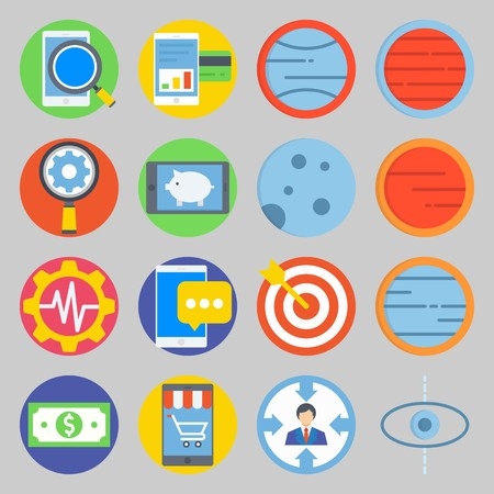 icon set about Transportation. with settings, moon  and target Ilustrace