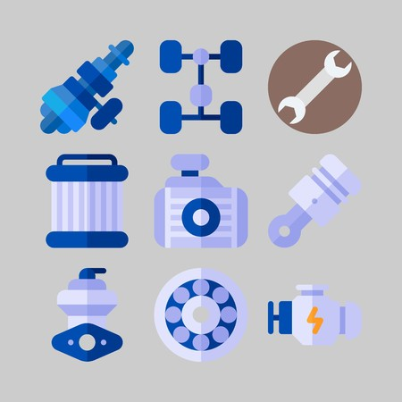 icon set about Car Engine. with engine, pulley and wrench