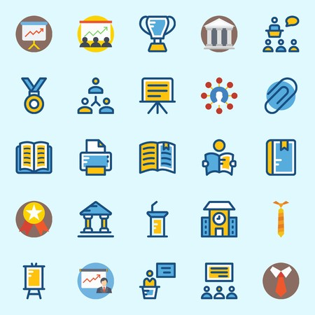 icons set about School And Education. with medal, school, lecture, notebook, museum and trophy