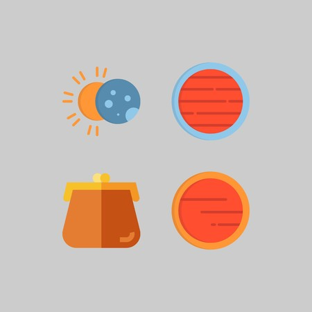 icon set about Travel. with eclipse, planet and purse