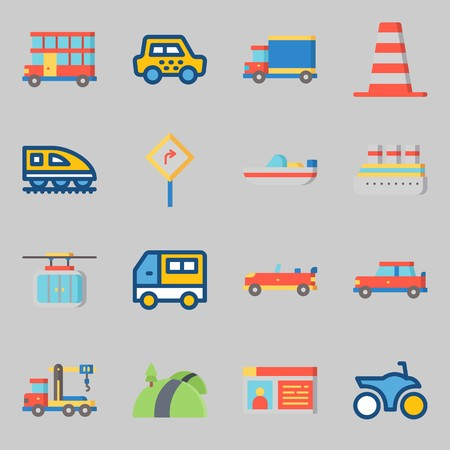 Icons set about Transportation. with road, cable car and double decker Stock Illustratie