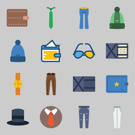 Icons set about Man Accessories. with sunglasses, trousers and wallet