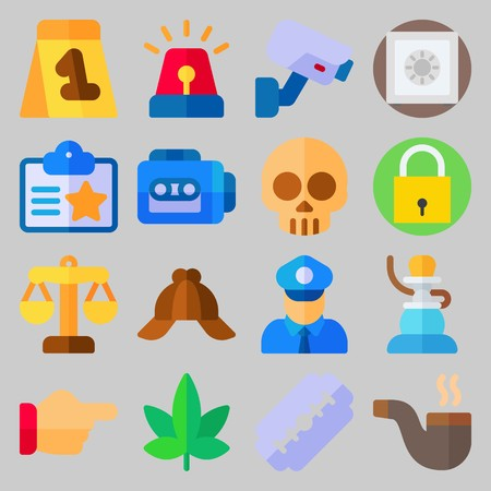 icon set about Crime Investigation. with safebox, siren and safe Ilustrace