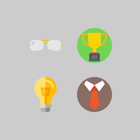 icon set about School And Education. with tie, trophy and sunglasses Banque d'images - 102087342