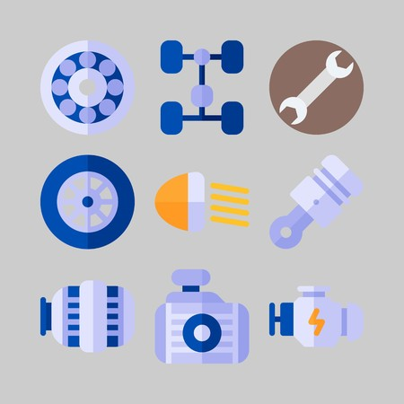 icon set about Car Engine. with chassis, engine and piston Banque d'images - 102087343