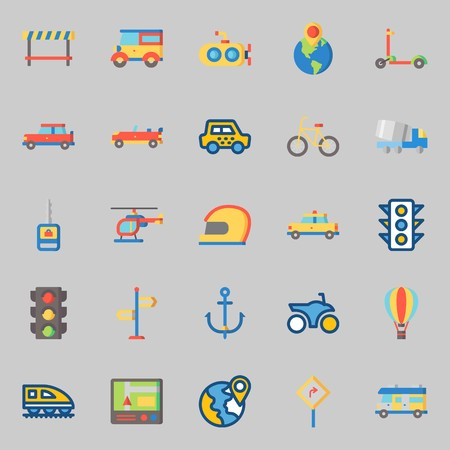 icons set about Transportation. with helmet, motorbike, gps, helicopter, sport  car and car key