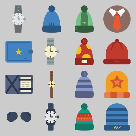icon set about Man - Clothes. with tie, hat and watch