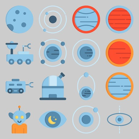 icon set about Univerce. with planet, observation and moon rover Vettoriali