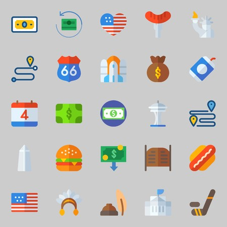 icons set about United States. with money, soda, united states, quill, washington monument and route