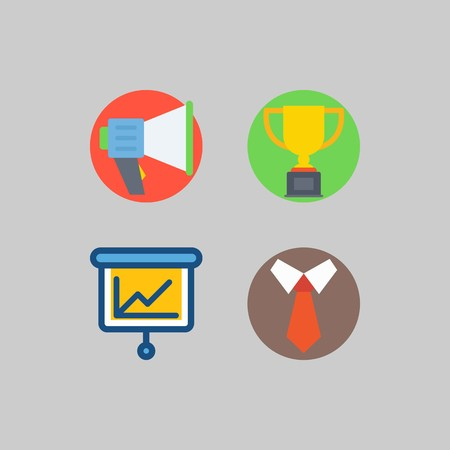 icon set about School And Education. with presentation, megaphone and tie