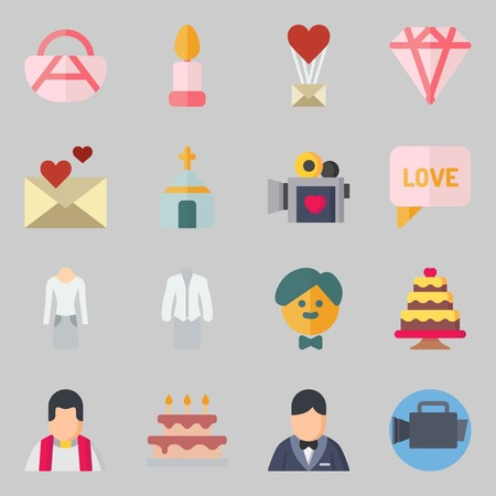 Icons set about Wedding. with handbag, priest and video camera Banque d'images - 102087350