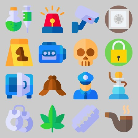 icon set about Crime Investigation. with padlock, siren and poison Illustration