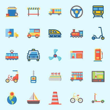 icons set about Transportation. with destination, bus, car key, road block, scooter and double decker