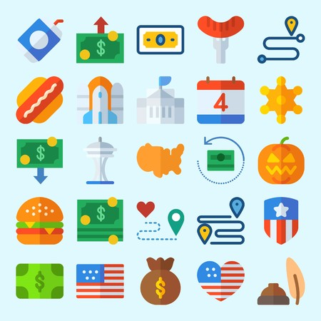 icons set about United States. with money bag, space needle, usa, rocket ship, hamburger and independent day