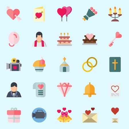 icons set about Wedding. with groom, wedding rings, cupcake, diamond, wedding invitation and cupid Banque d'images - 102087354