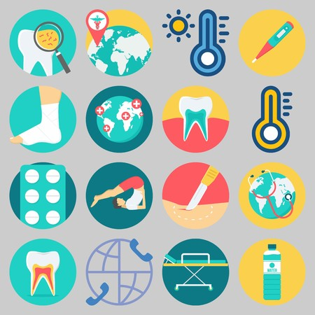 Icon set about Medical with keywords tablets, thermometer, teeth, worldwide, tooth and surgery
