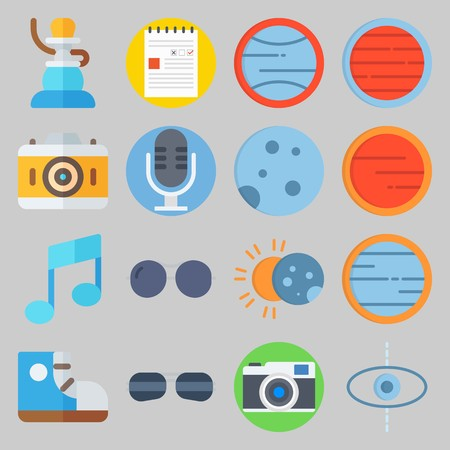 icon set about Hippies. with microphone, note and planet