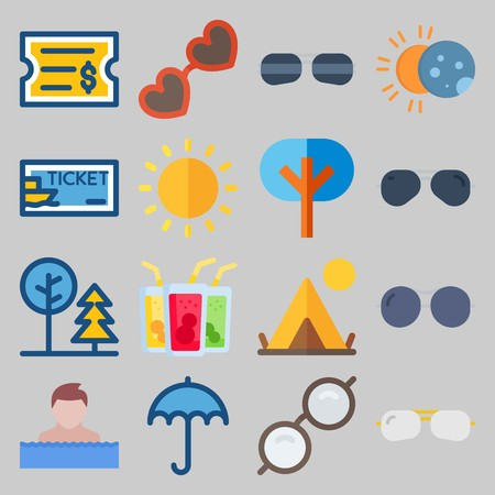 icon set about Beach And Cumping. with swimmer man, cocktail and eclipse Banque d'images - 102087381