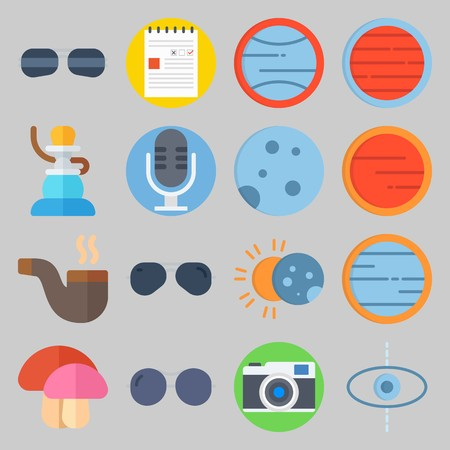 icon set about Hippies. with photo camera, microphone and eclipse Stock Illustratie