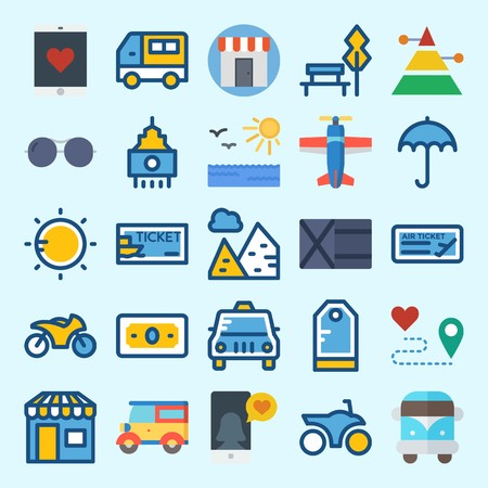 icons set about Travel. with pyramid, sun, taxi, tag, skyscraper and sunglasses