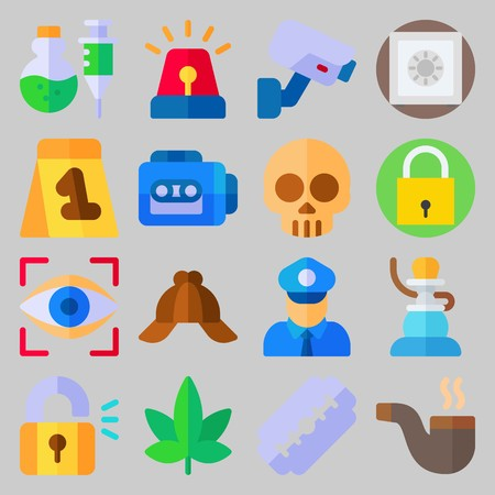 icon set about Crime Investigation. with safebox, skull and razor