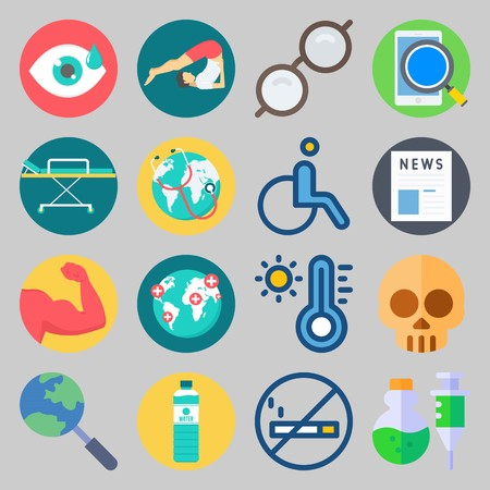 icon set about Medical. with eye, worldwide and skull