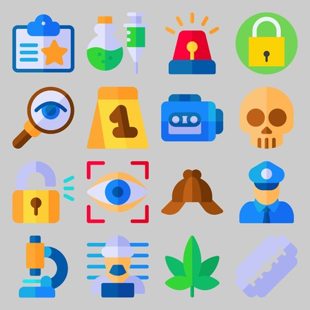 icon set about Crime Investigation. with siren, marijuana and criminal Stockfoto - 102087386