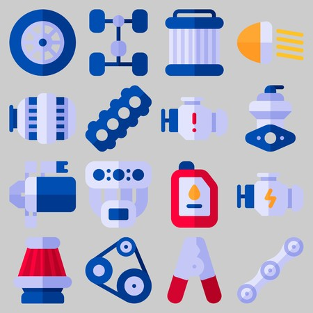 Icon set about Car Engine with keywords air filter, starter, chassis, pilers, engine and belt Stock Illustratie