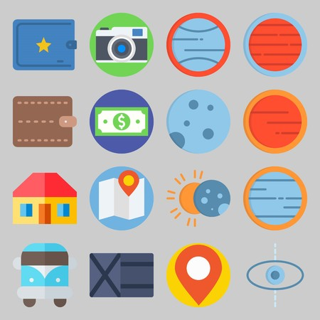 icon set about Travel. with moon , sun and van