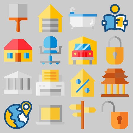 Icon set about Real Assets with keywords roof, real estate, location, plane, work tools and relax