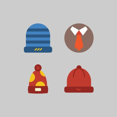 icon set about Man - Clothes. with tie, winter hat and hat Stockfoto - 102087391
