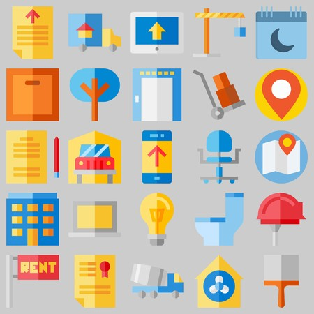 icon set about Real Assets. with lamp, location and wc